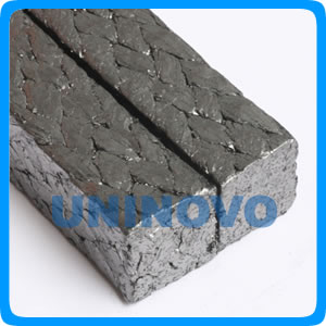 Expanded graphite braided packing reinforced by glass fiber